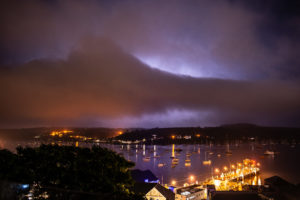 Sheet Lightning over Falmouth and Flushing, Cornwall, during the May Bank Holiday thunderstorms. 27 May 2018