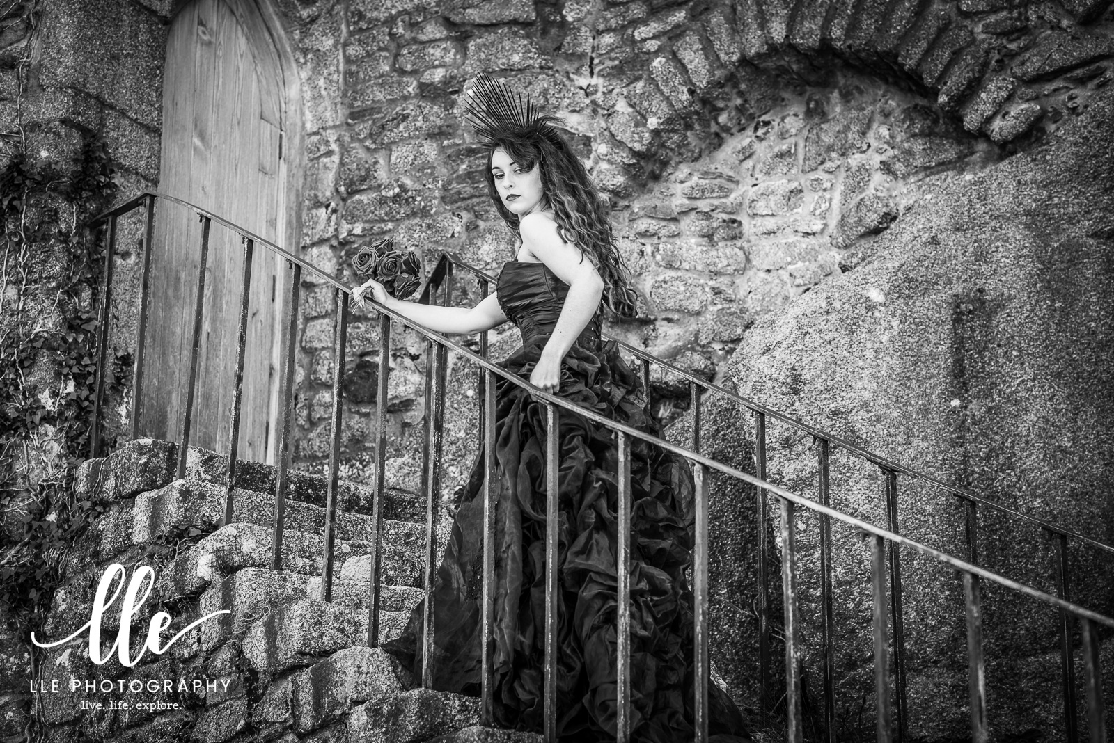 Gothic Portrait Photography shoot at Carn Brea, Cornwall