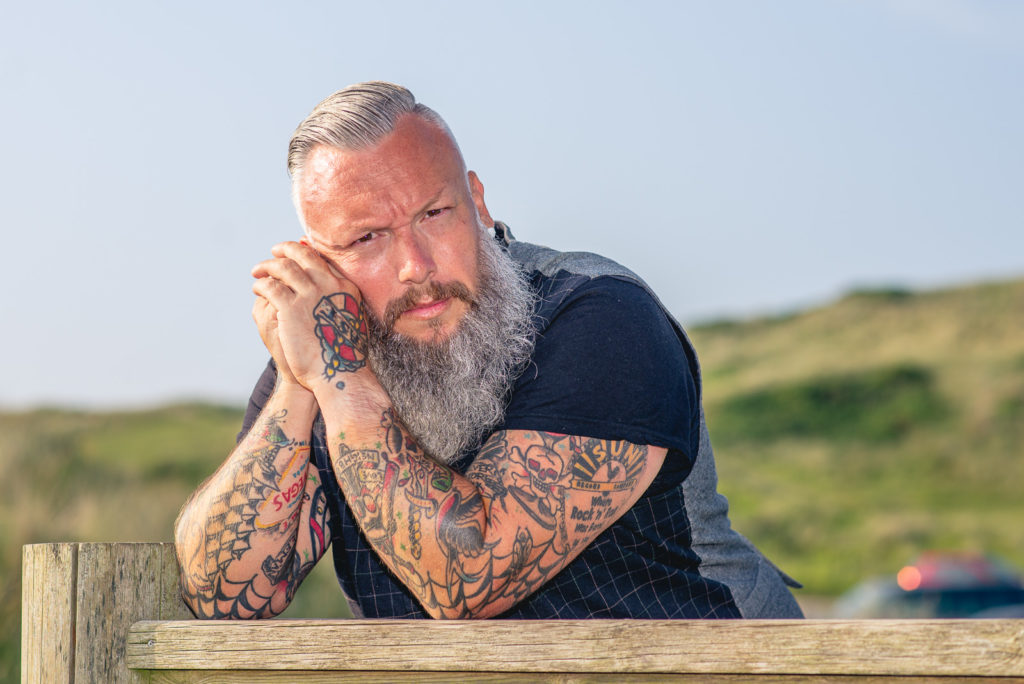 Tattoos and Beard, male model portrait photography session in Cornwall