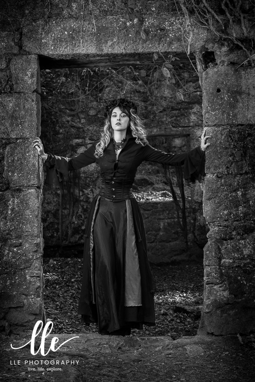 Gothic styled portrait photography shoot near Falmouth, Cornwall