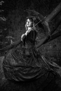 gothic style model photography shoot in Cornwall