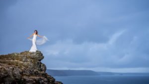 Cornwall model photoshoot - wedding themed with beautiful wedding dress