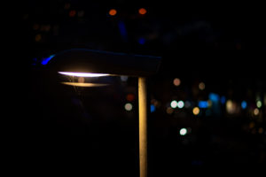 Street light in Falmouth with bokeh